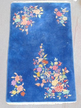 Blue Chinese scatter rug, floral decoration