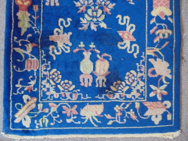 Small Chinese scatter rug, blue, with designs - 2