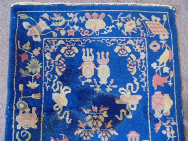 Small Chinese scatter rug, blue, with designs - 3