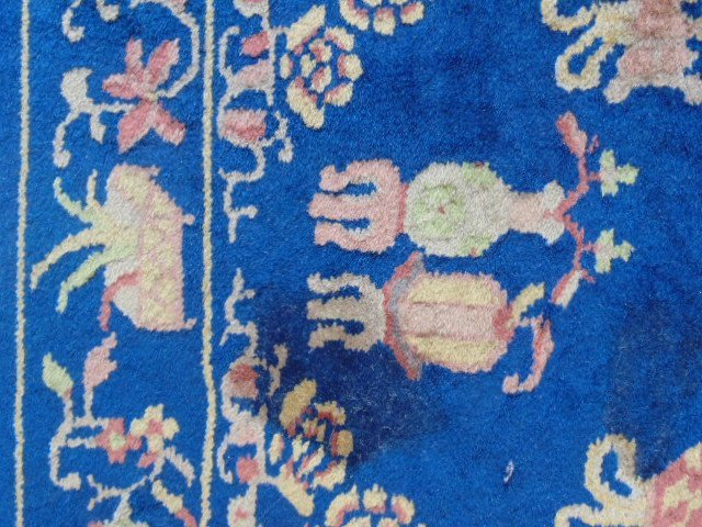 Small Chinese scatter rug, blue, with designs - 4