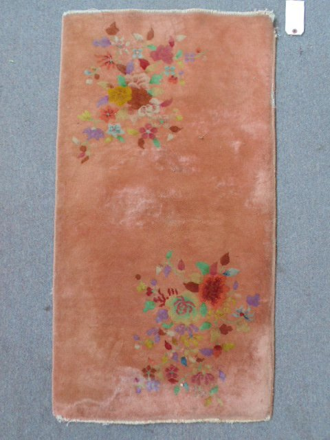 Chinese scatter rug, beige / brown, with floral