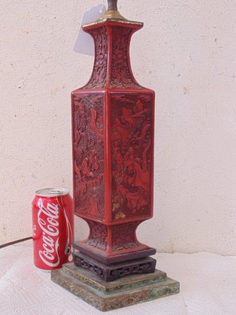 Chinese cinnabar table lamp