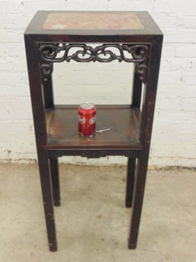 Tall Chinese teak plant stand, marble top
