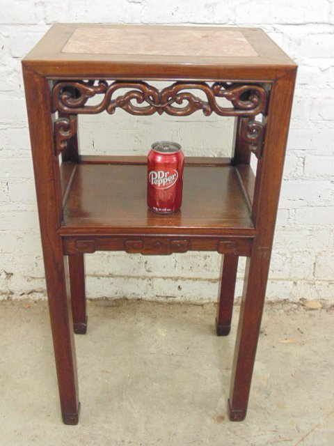 Teak two tier marble top Chinese plant stand