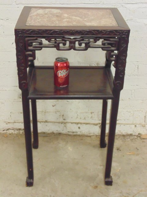 Teak Chinese marble top plant stand