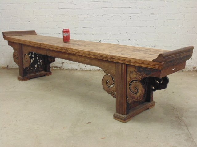 19th Century Chinese bench with carved sides