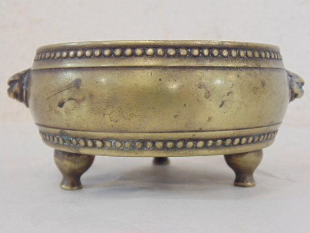 Early Chinese (Ming ?) 3 legged brass bowl - 2