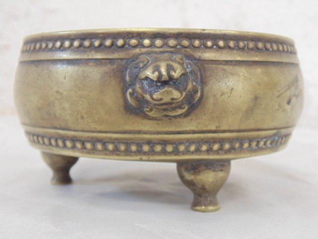 Early Chinese (Ming ?) 3 legged brass bowl - 3