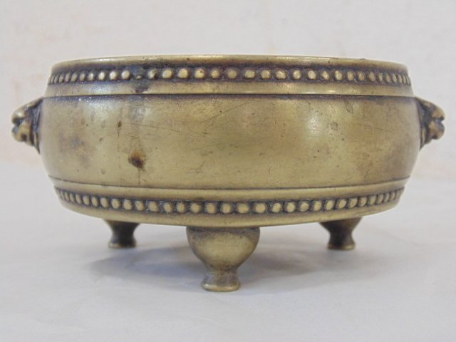 Early Chinese (Ming ?) 3 legged brass bowl - 4