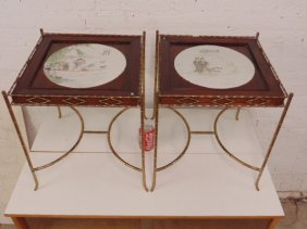 Pair Chinese tile top stands,  hand painted plaques