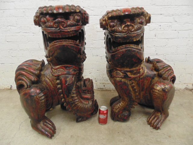 Pair large carved wood foo dogs with red paint