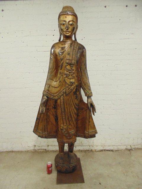 Life-size carved & gilt Burmese Buddha