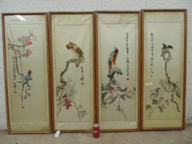Set of 4 Chinese embroideries on silk
