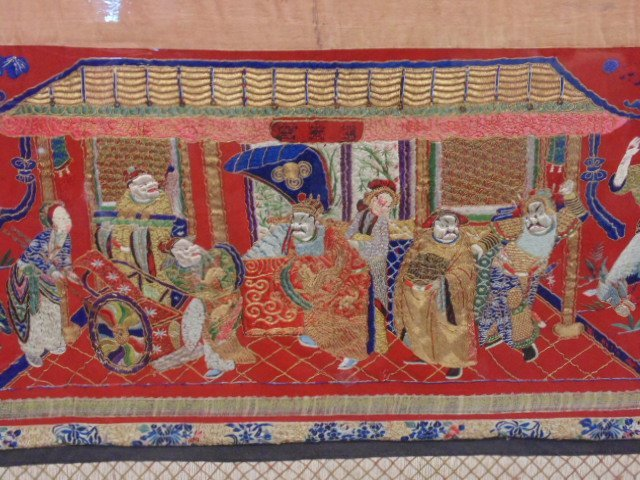 Exceptional Chinese 18 feet embroidered banner