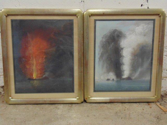 Pair Chinese export paintings, erupting volcano