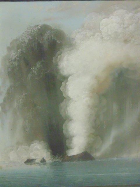 Pair Chinese export paintings, erupting volcano - 2