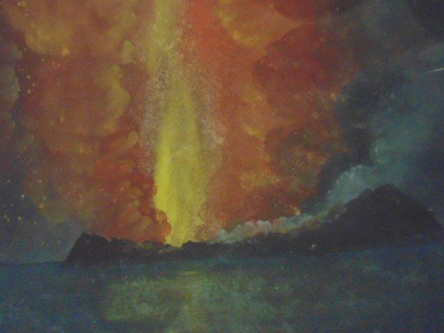 Pair Chinese export paintings, erupting volcano - 4