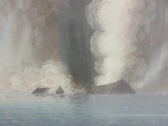 Pair Chinese export paintings, erupting volcano - 5