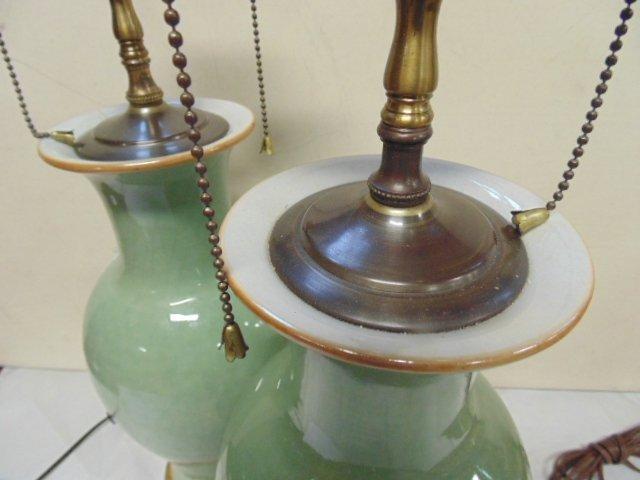 Pair Chinese celadon lamps - 3
