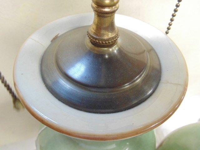 Pair Chinese celadon lamps - 4