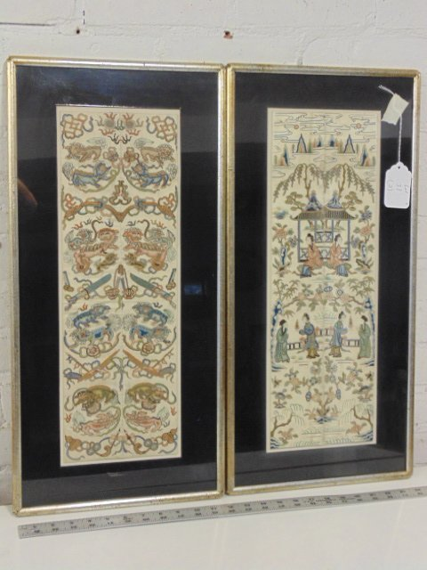 Pair Chinese embroideries, figures, flowers,