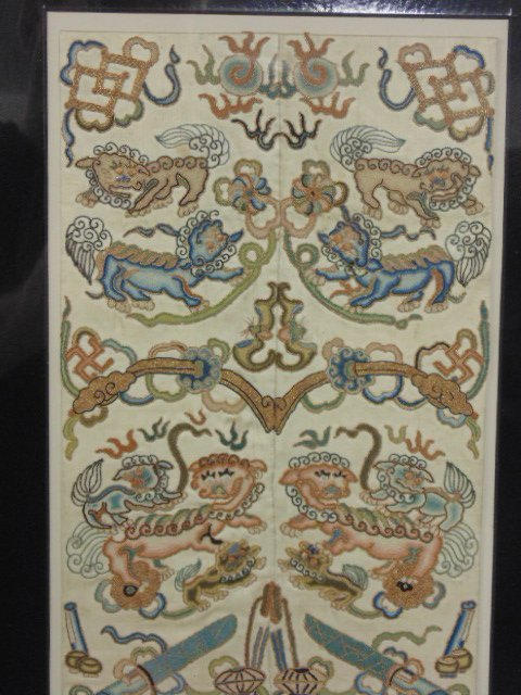 Pair Chinese embroideries, figures, flowers, - 2