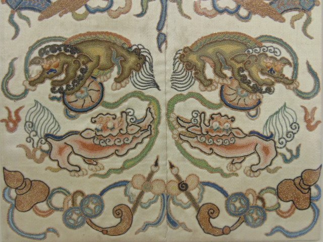 Pair Chinese embroideries, figures, flowers, - 4