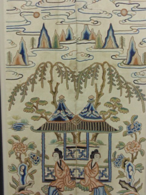 Pair Chinese embroideries, figures, flowers, - 5