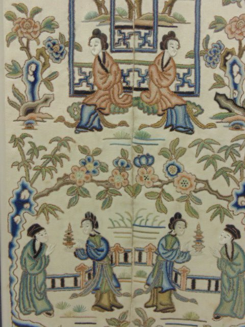 Pair Chinese embroideries, figures, flowers, - 6