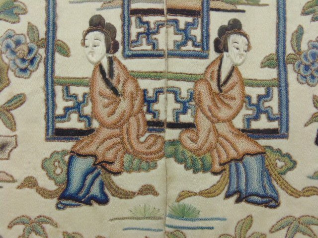 Pair Chinese embroideries, figures, flowers, - 8
