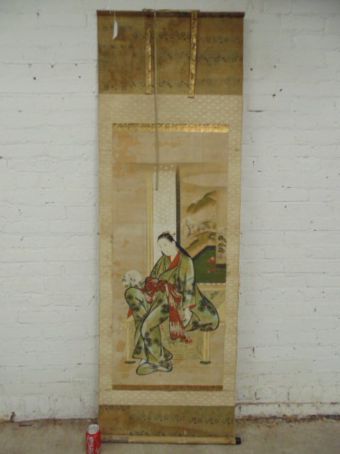 Mounted Chinese scroll, silk & paper