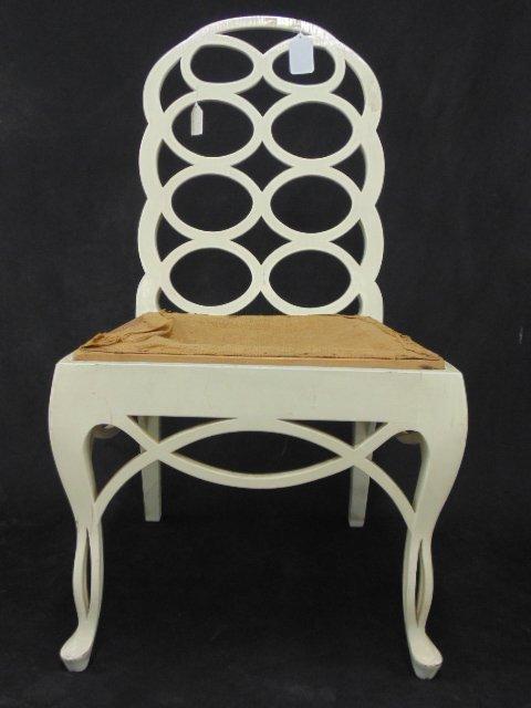 White painted loop side chair by Frances Elkins