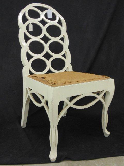 White painted loop side chair by Frances Elkins - 2