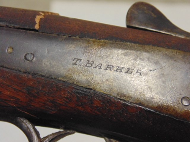 T. Barker double barrel antique shotgun - 10