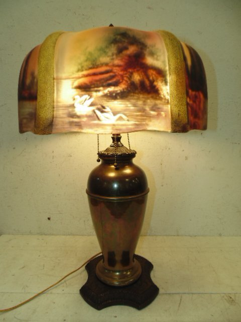 Table lamp with reverse painted glass shade