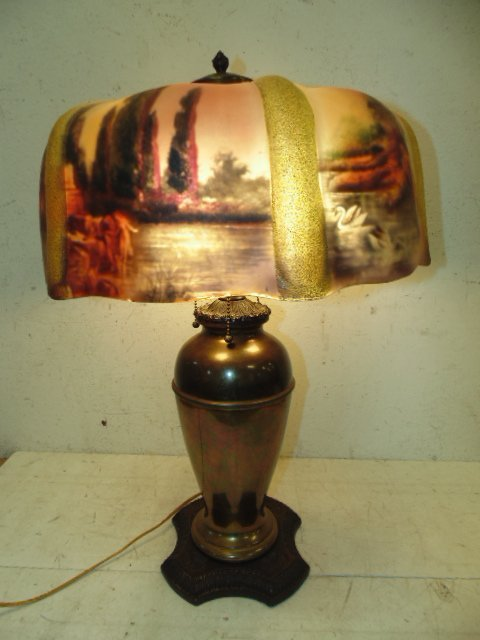 Table lamp with reverse painted glass shade - 2