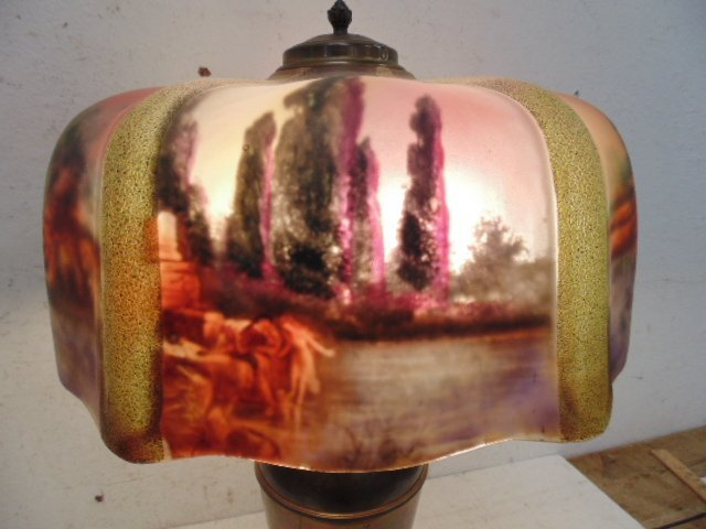 Table lamp with reverse painted glass shade - 3