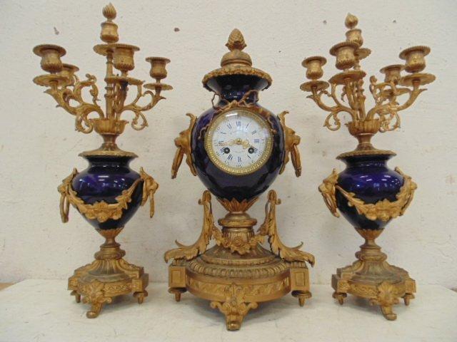 3 piece bronze & porcelain clock set