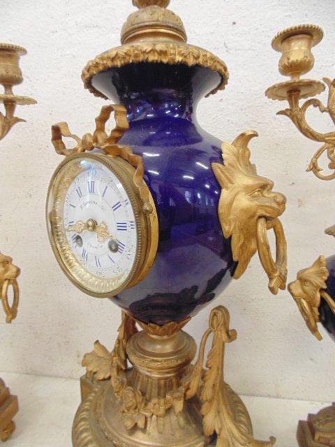 3 piece bronze & porcelain clock set - 3