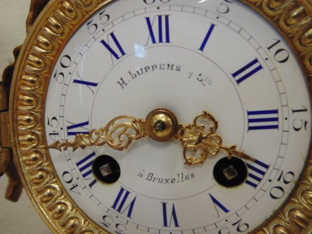 3 piece bronze & porcelain clock set - 4