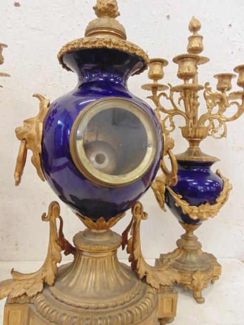3 piece bronze & porcelain clock set - 6