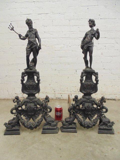 Pair neoclassical figural bronze andirons