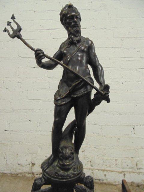 Pair neoclassical figural bronze andirons - 4
