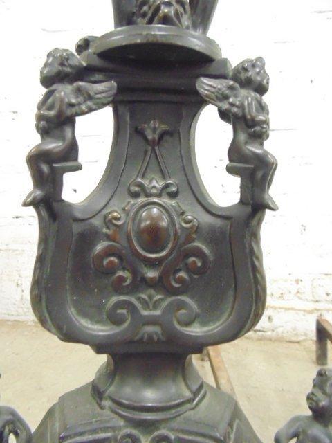 Pair neoclassical figural bronze andirons - 6