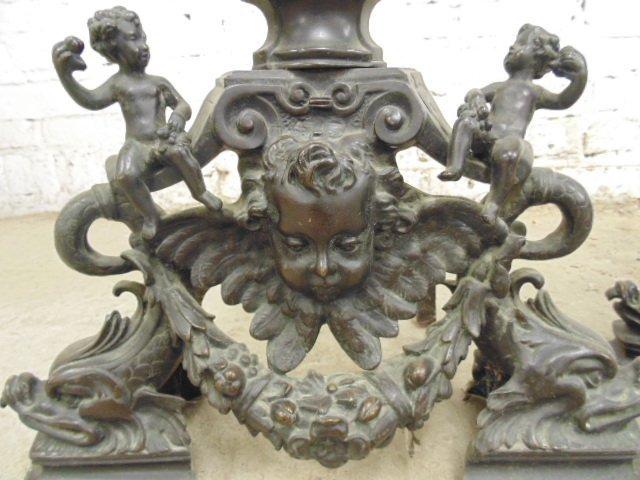 Pair neoclassical figural bronze andirons - 9