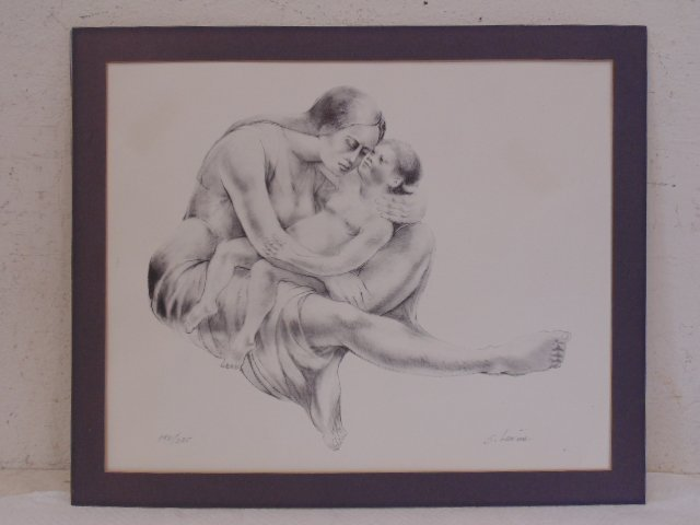 Lithograph, mother & child, signed S. Levine