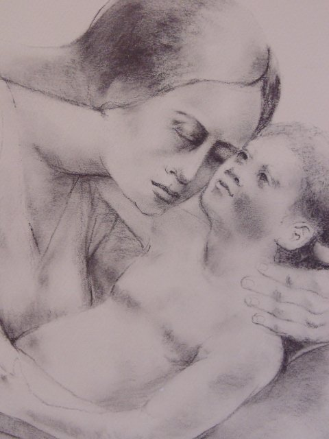 Lithograph, mother & child, signed S. Levine - 3