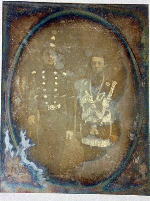 Daguerreotype photograph,  figures in military uniforms
