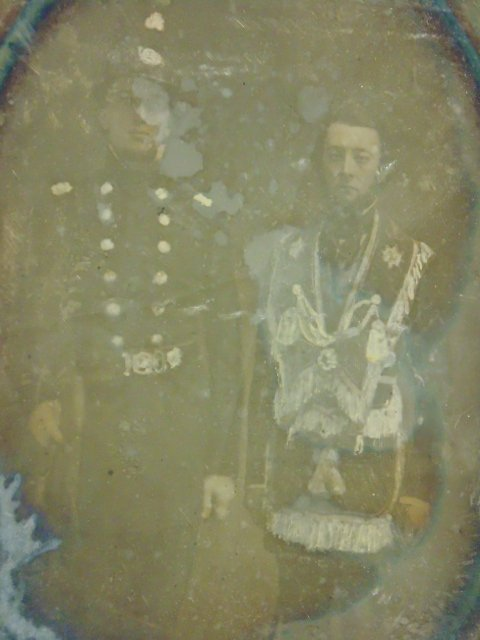 Daguerreotype photograph,  figures in military uniforms - 2