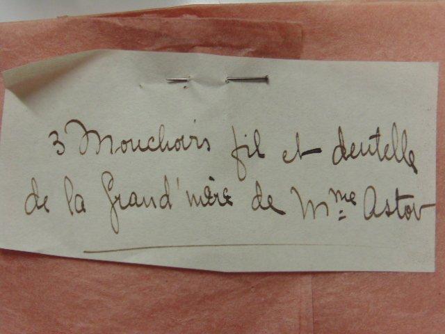 Heinrich Astor toilet set, 3 handkerchiefs, Mrs.. Astor - 8
